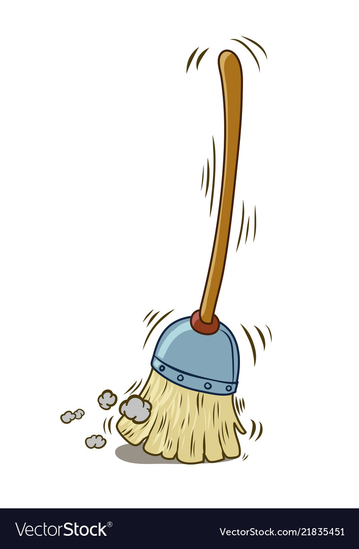 A cartoon broom sweeping by itself