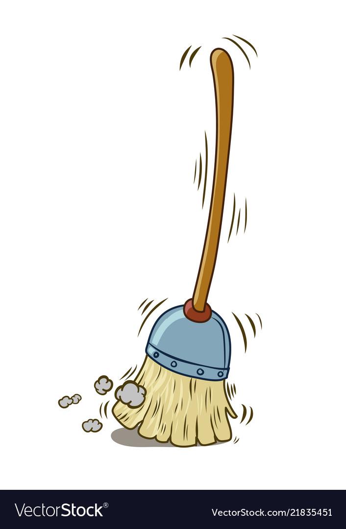 A cartoon broom sweeping itself