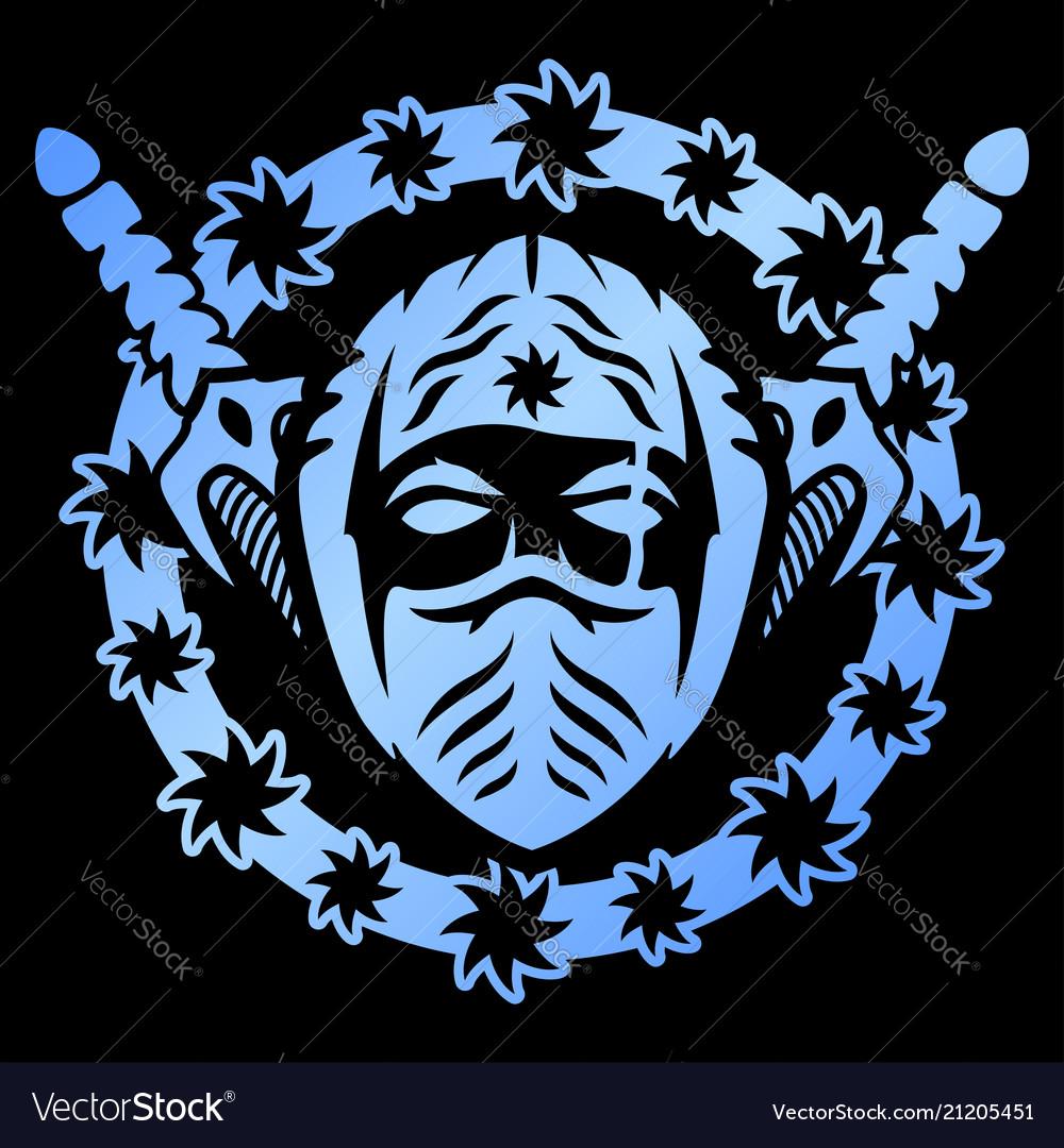 Blue emblem with ninja