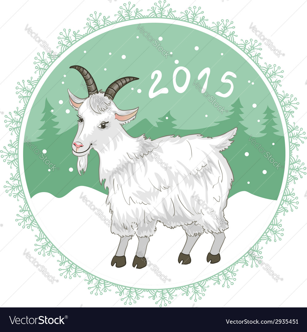 Card with grey-green snowflake and goat symbol of