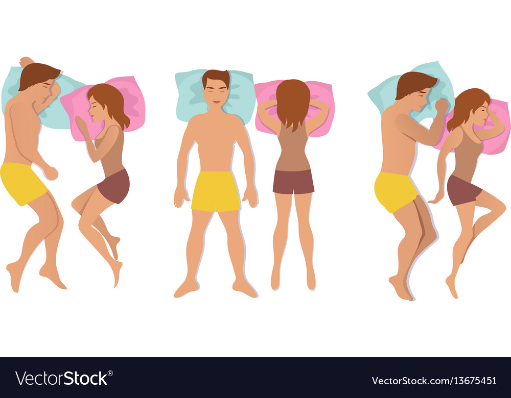 Couple sleeping poses man and woman resting and