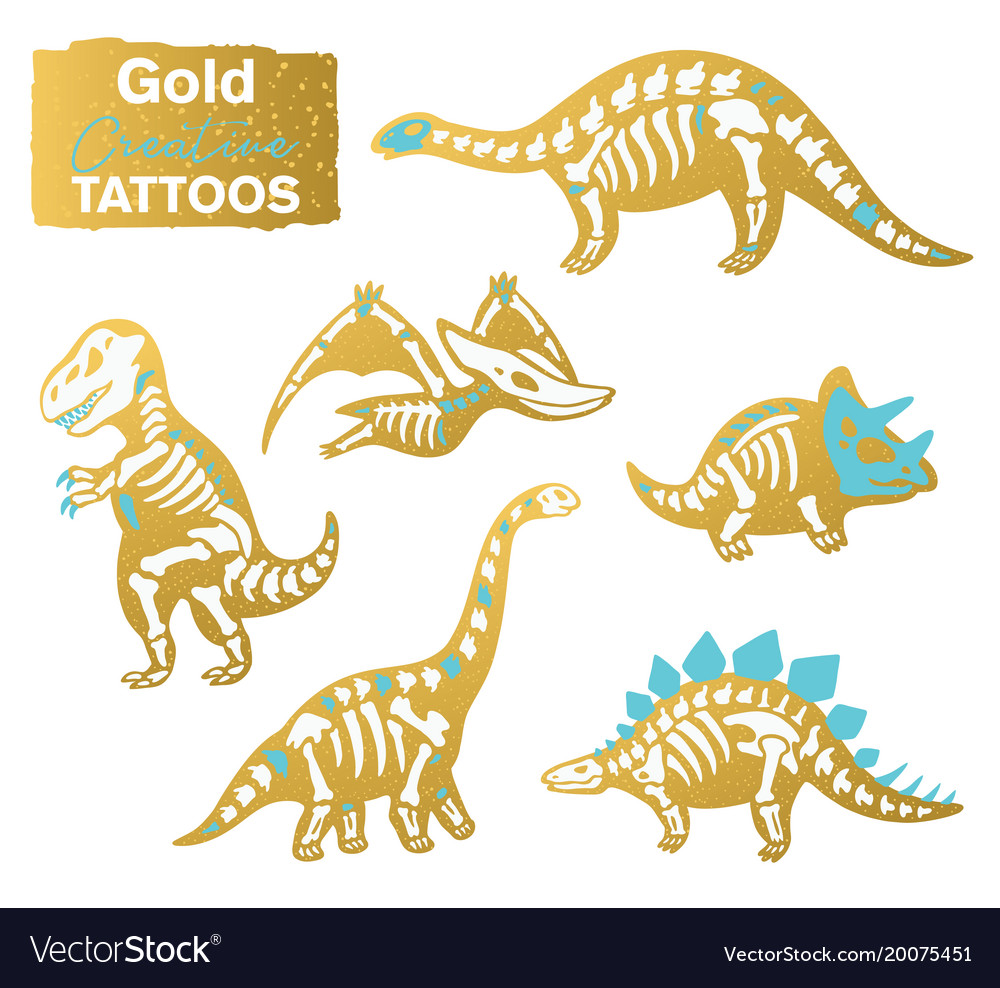 Golden set with cartoon skeletons of dinosaurs