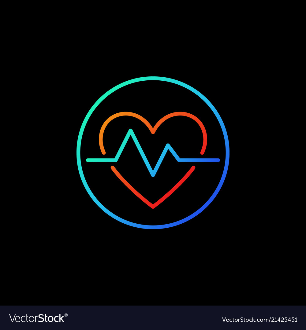 Heartbeat in blue circle icon or symbol in