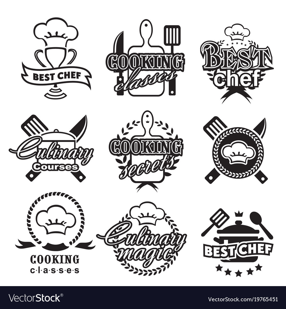Kitchen classes labels cooking silhouette