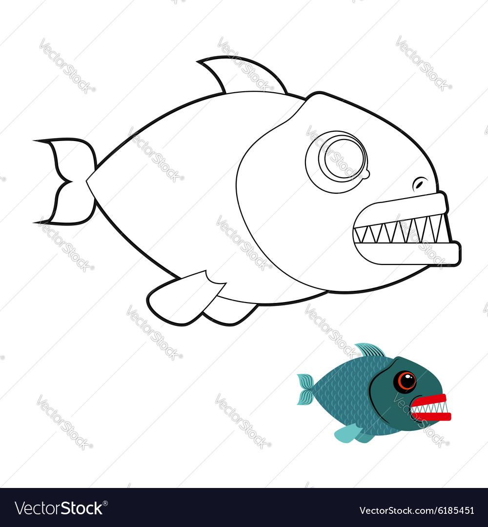 Piranha coloring book Terrible sea fish with large