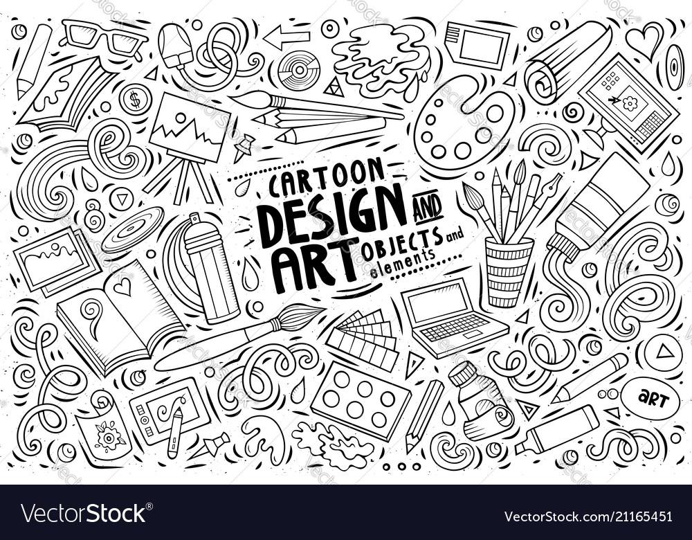 Set of design theme items