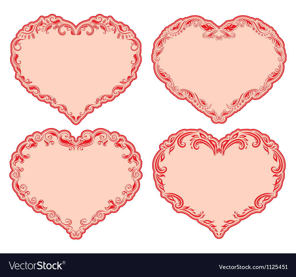 Set of ornate heart frames Royalty Free Vector Image
