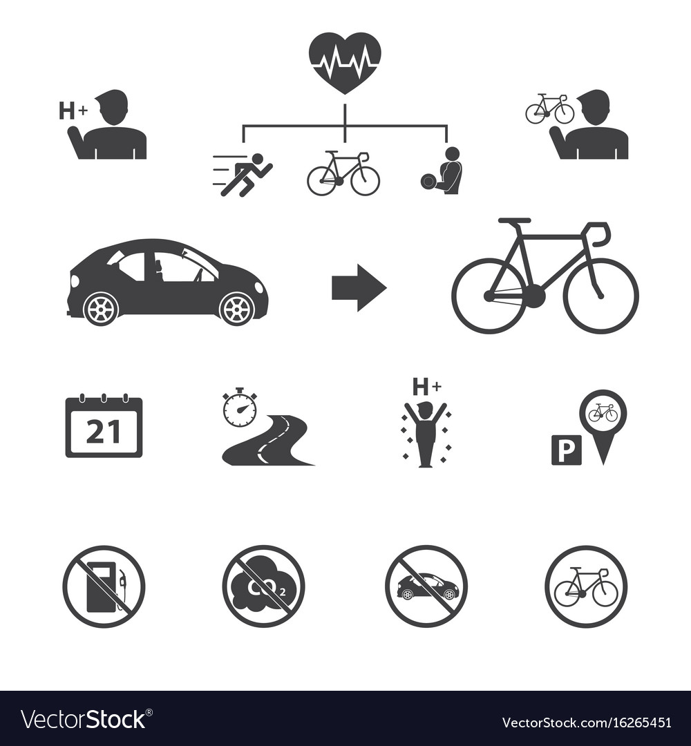 The benefits of the cyclist bicycle icons set