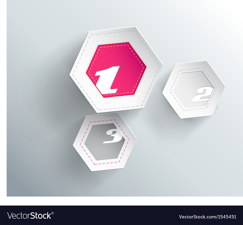 Tree hexagon paper objects with place for your vector image
