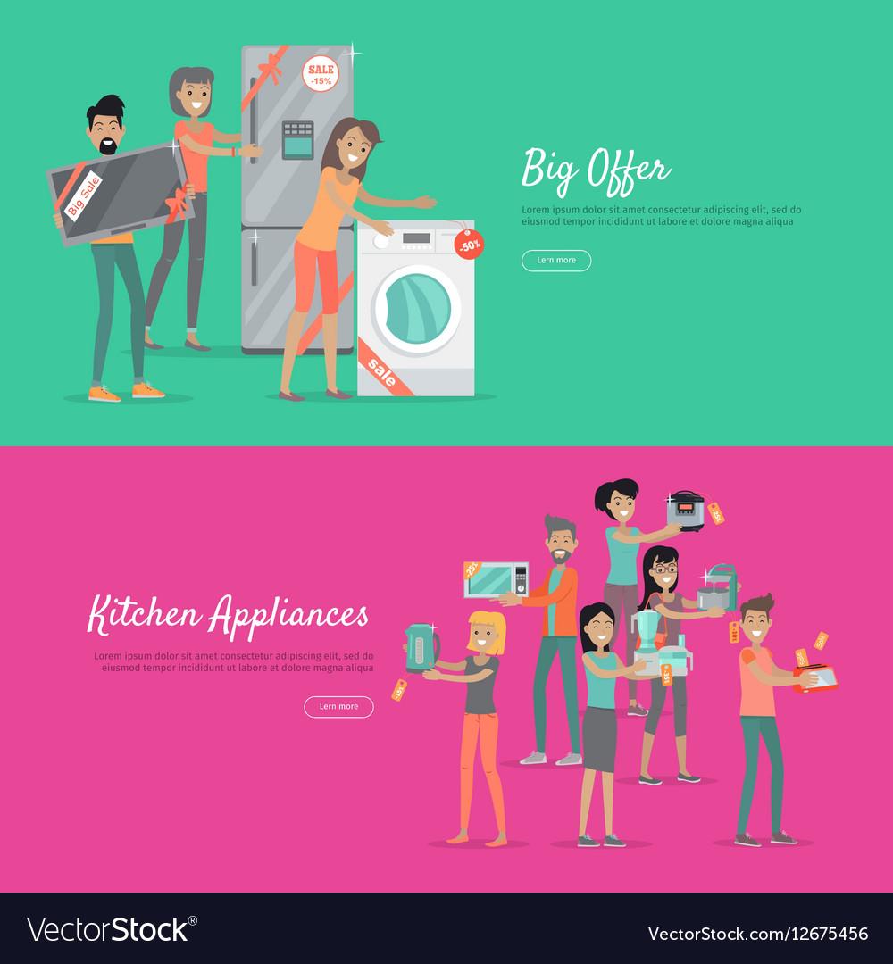 Big Offer Kitchen Appliances Set of People on Sale
