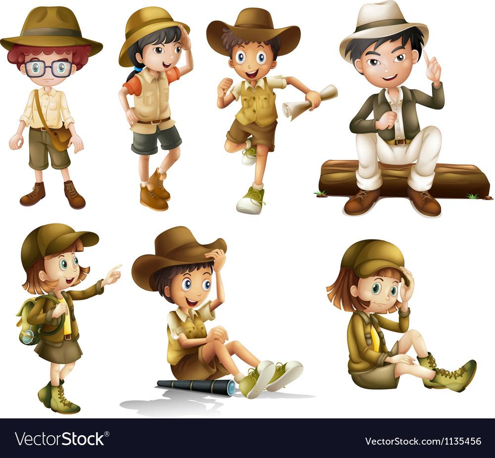 Boys and girls in safari costume