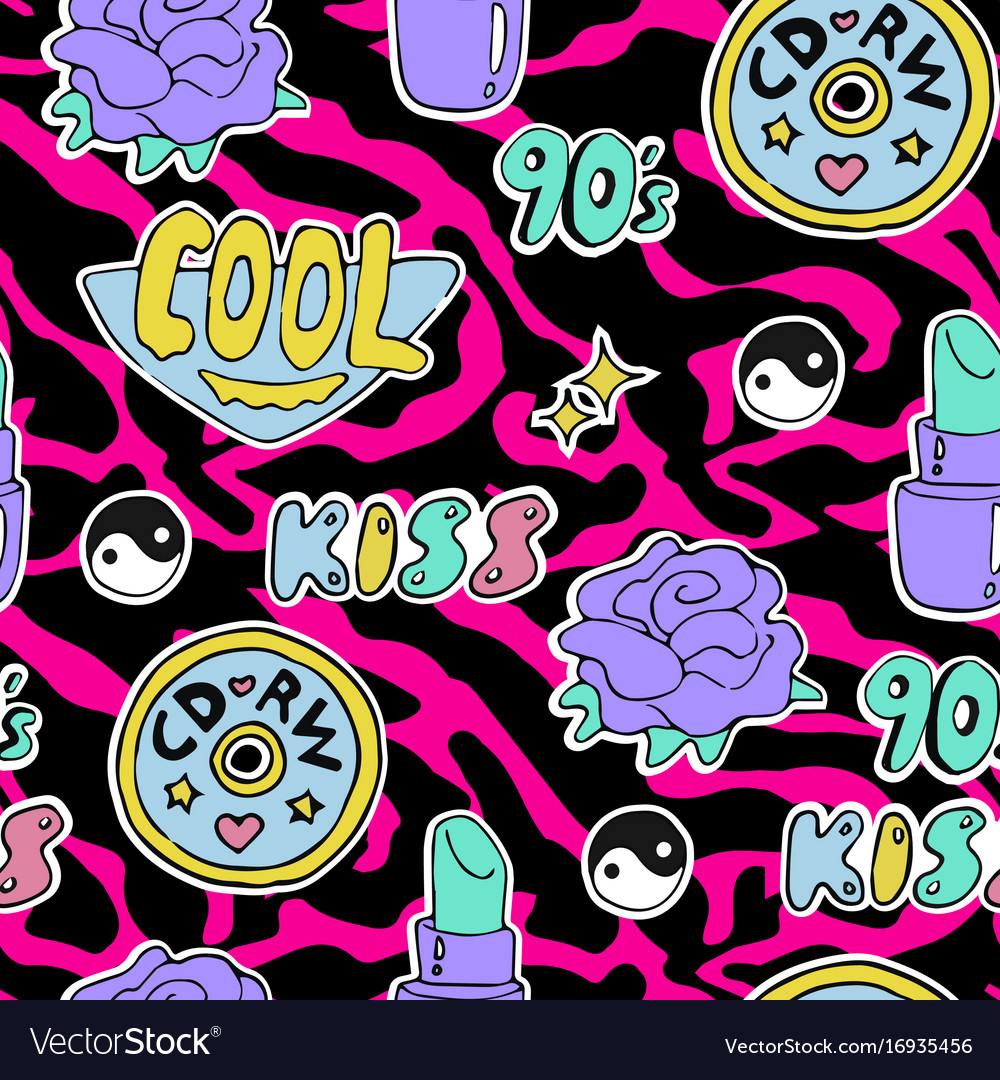 Bright seamless pattern 80s 90s style