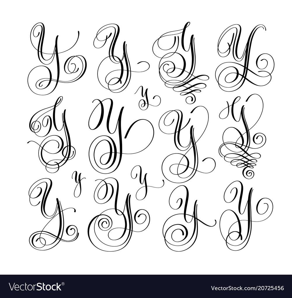 Calligraphy lettering script font y set hand