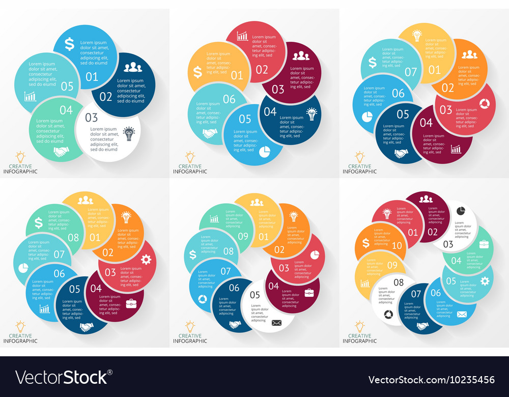 Circle arrows infographics set cycle vector image