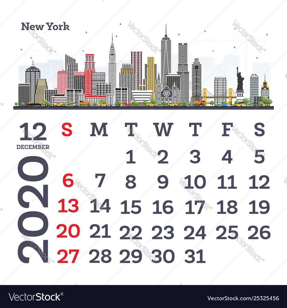 December 2020 calendar template with new york