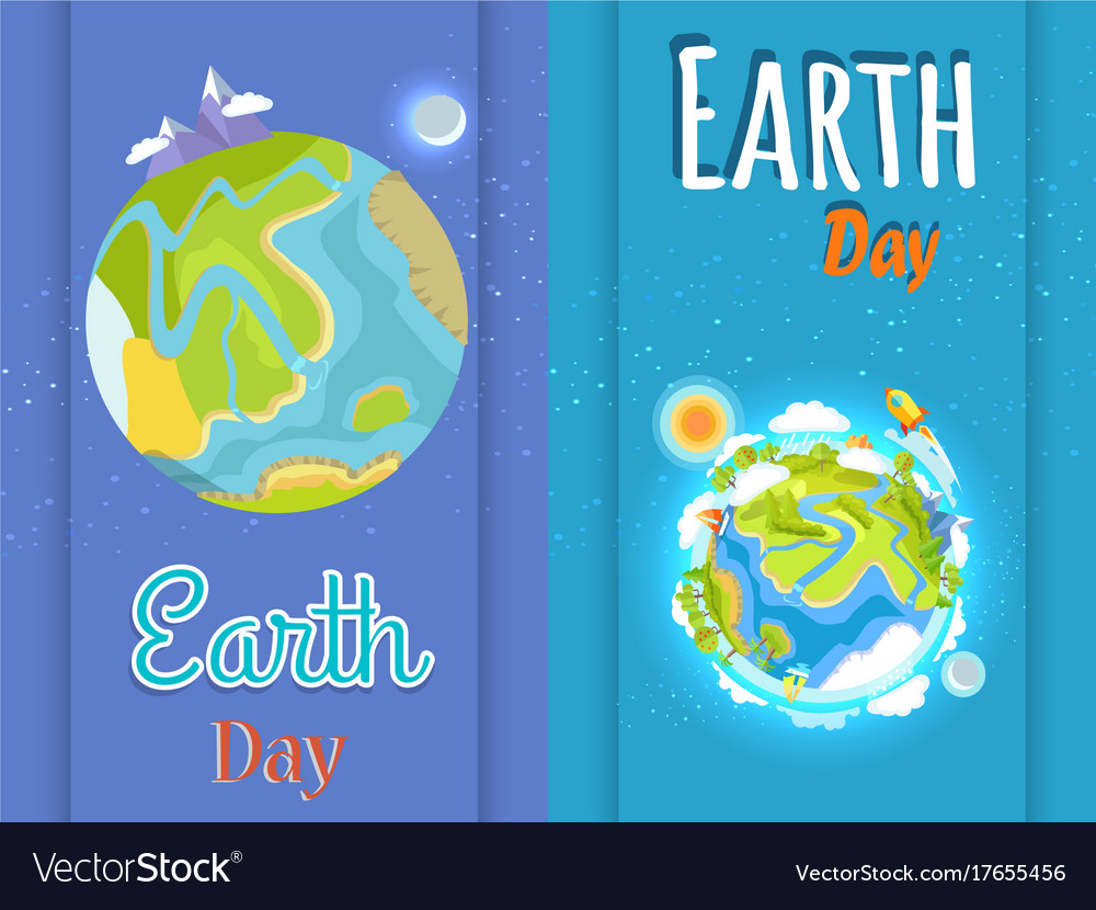 Earth day bright posters with planet