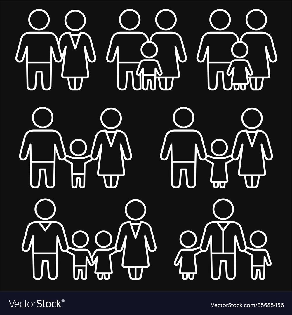Family icons set on black background line style