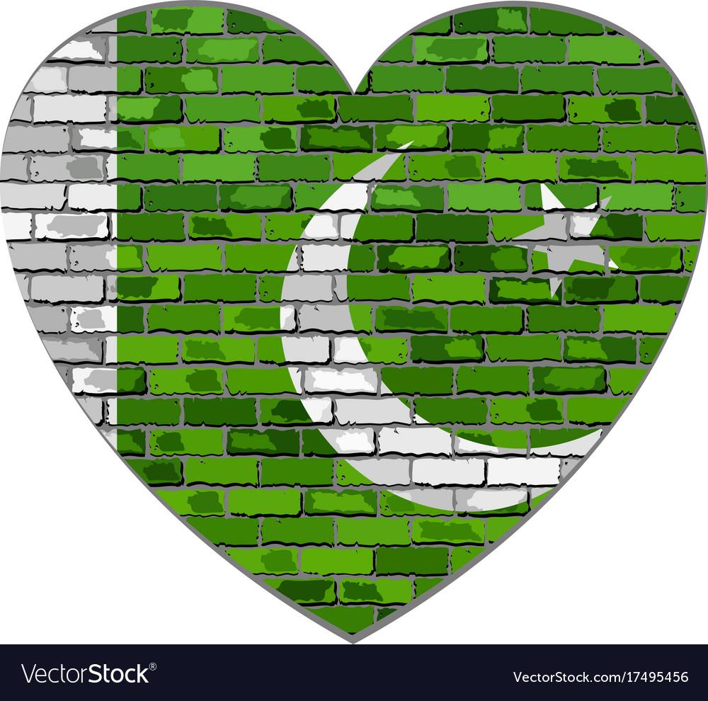 Flag of pakistan on a brick wall in heart shape