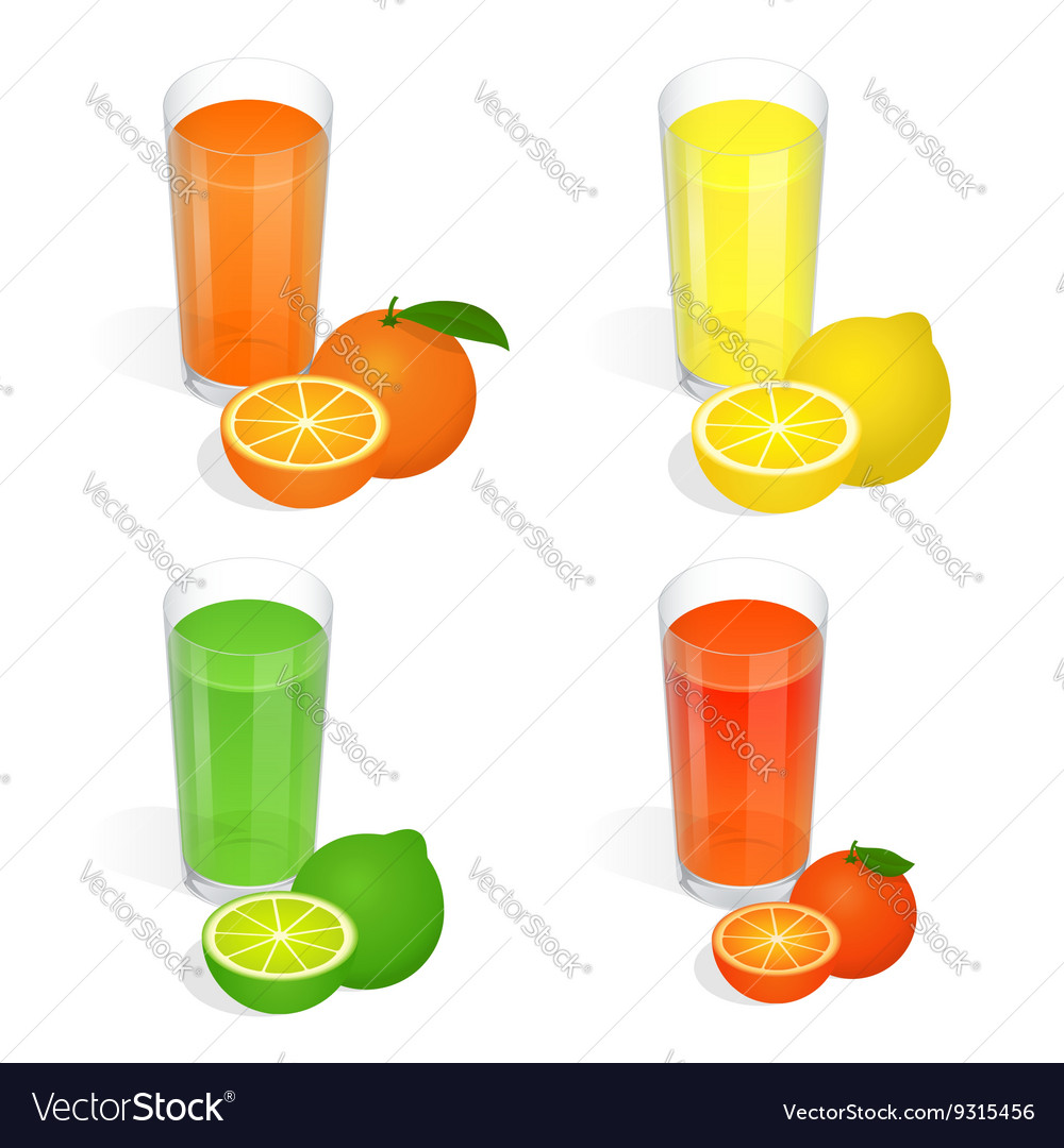 Fresh juices set Design elements for cafe and