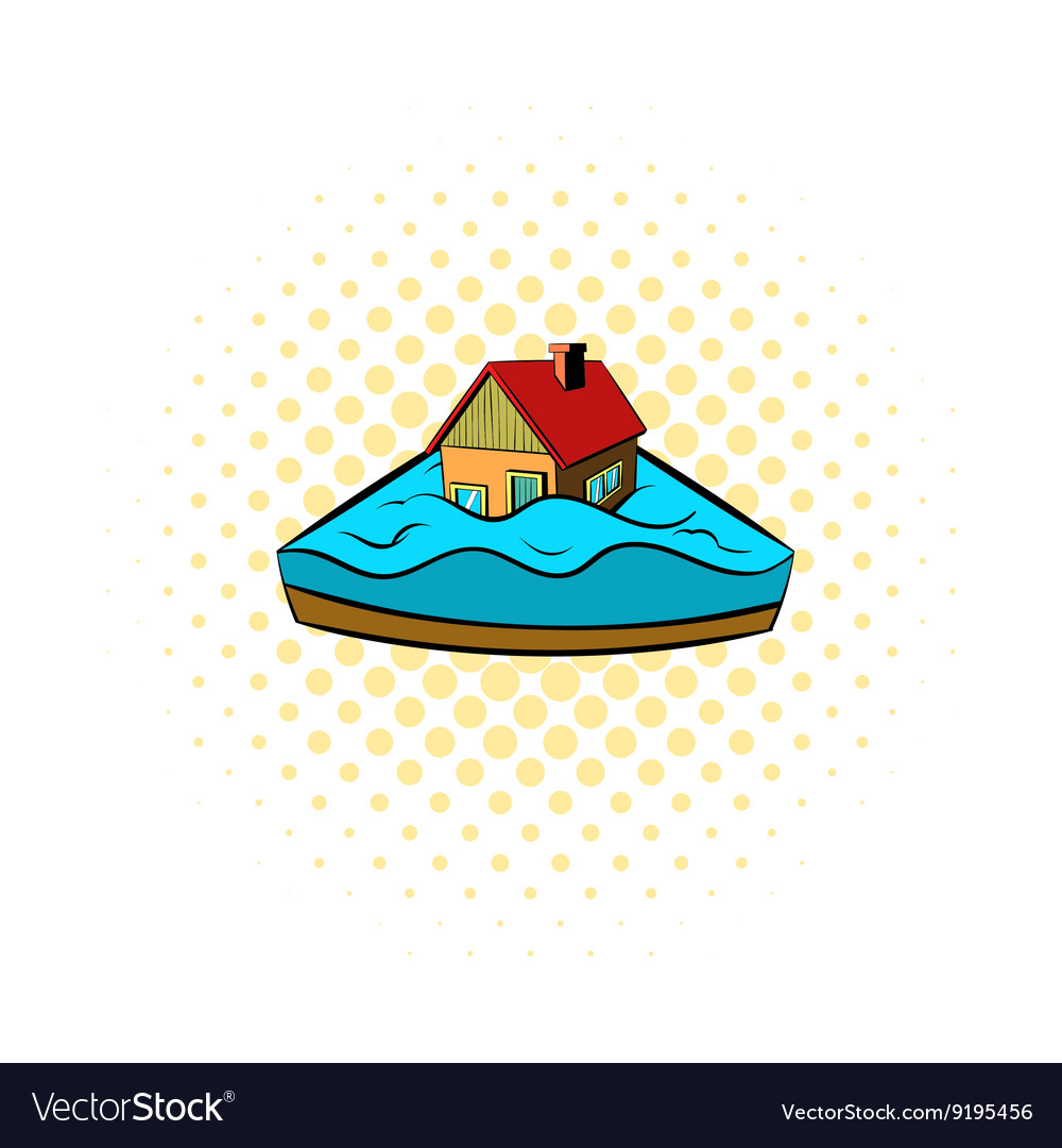 House sinking in a water icon comics style