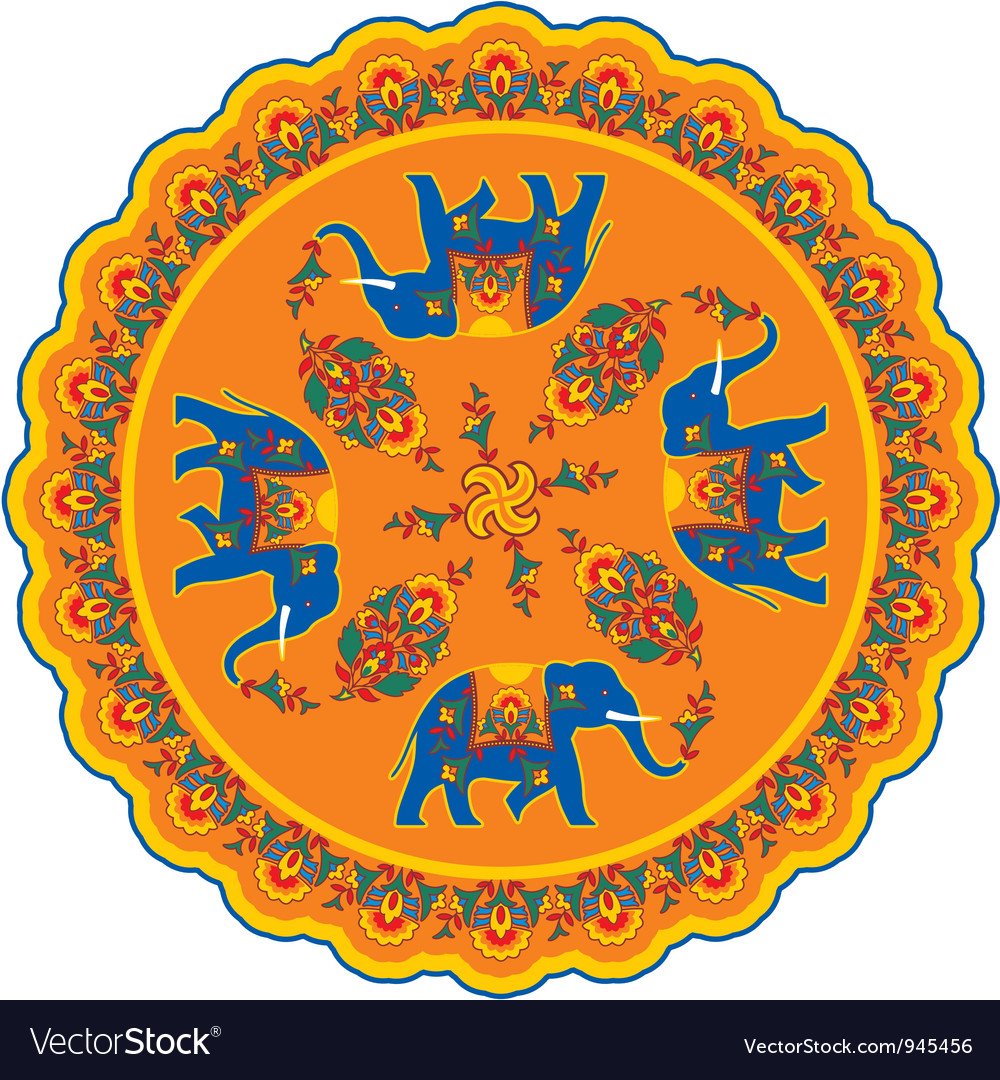 Indian Elephant Pattern Rosette vector image