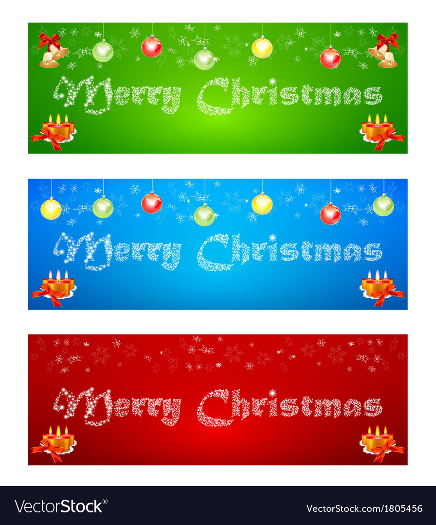 Merry Christmas banner on different backgrounds