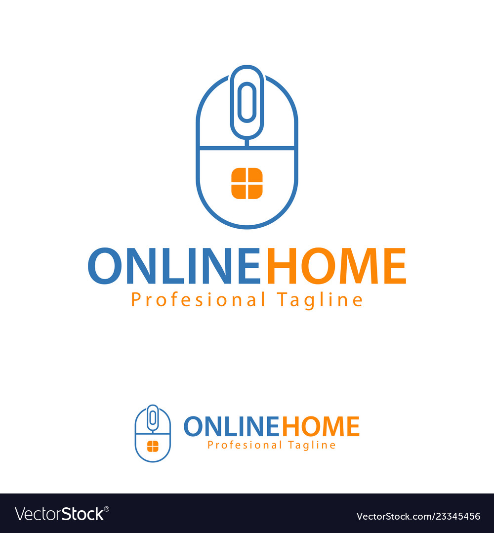 Online Home Design Template Logo Iconic Symbols Vector Image