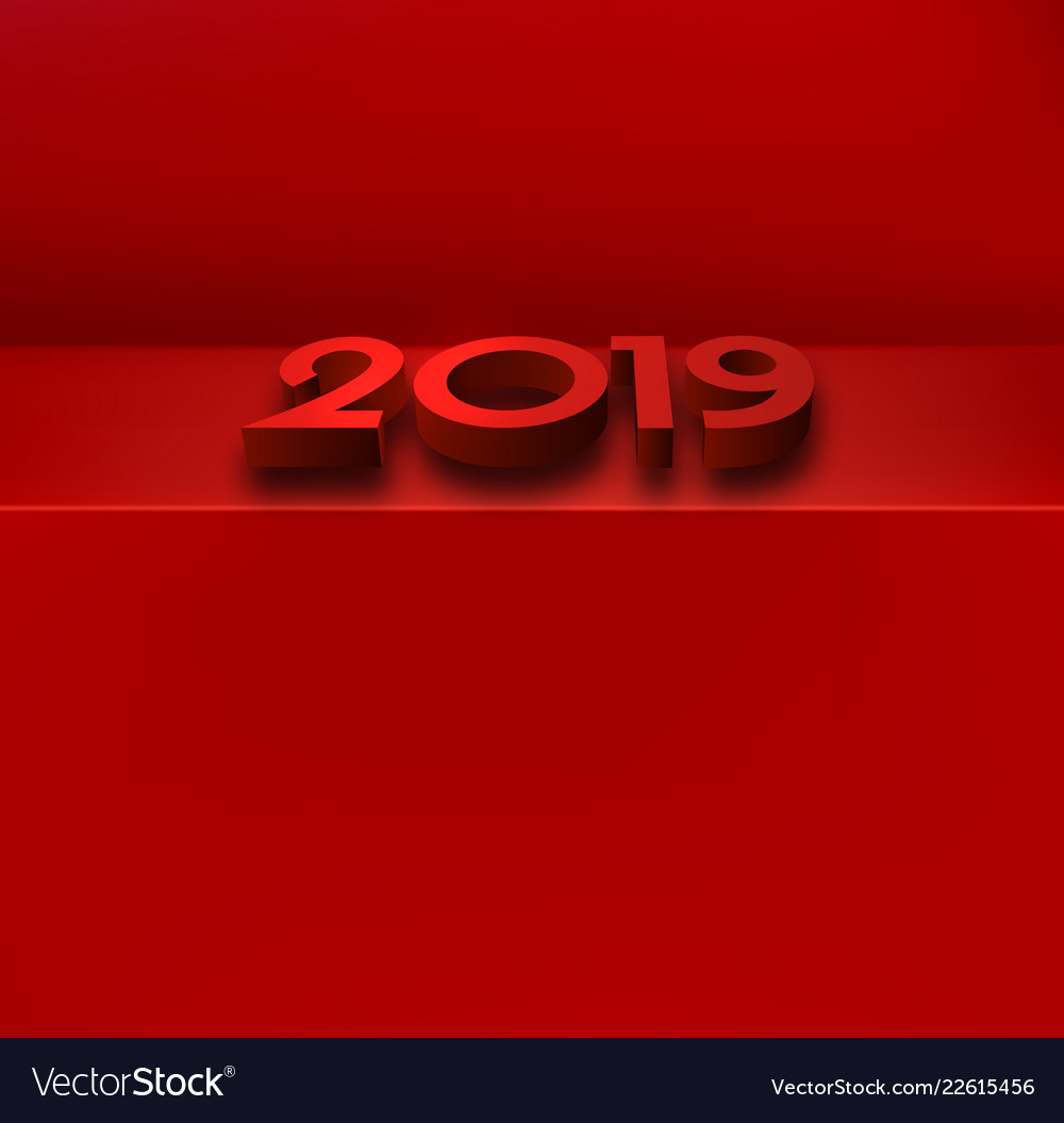 red 2019 new year background with 3d figures vector image