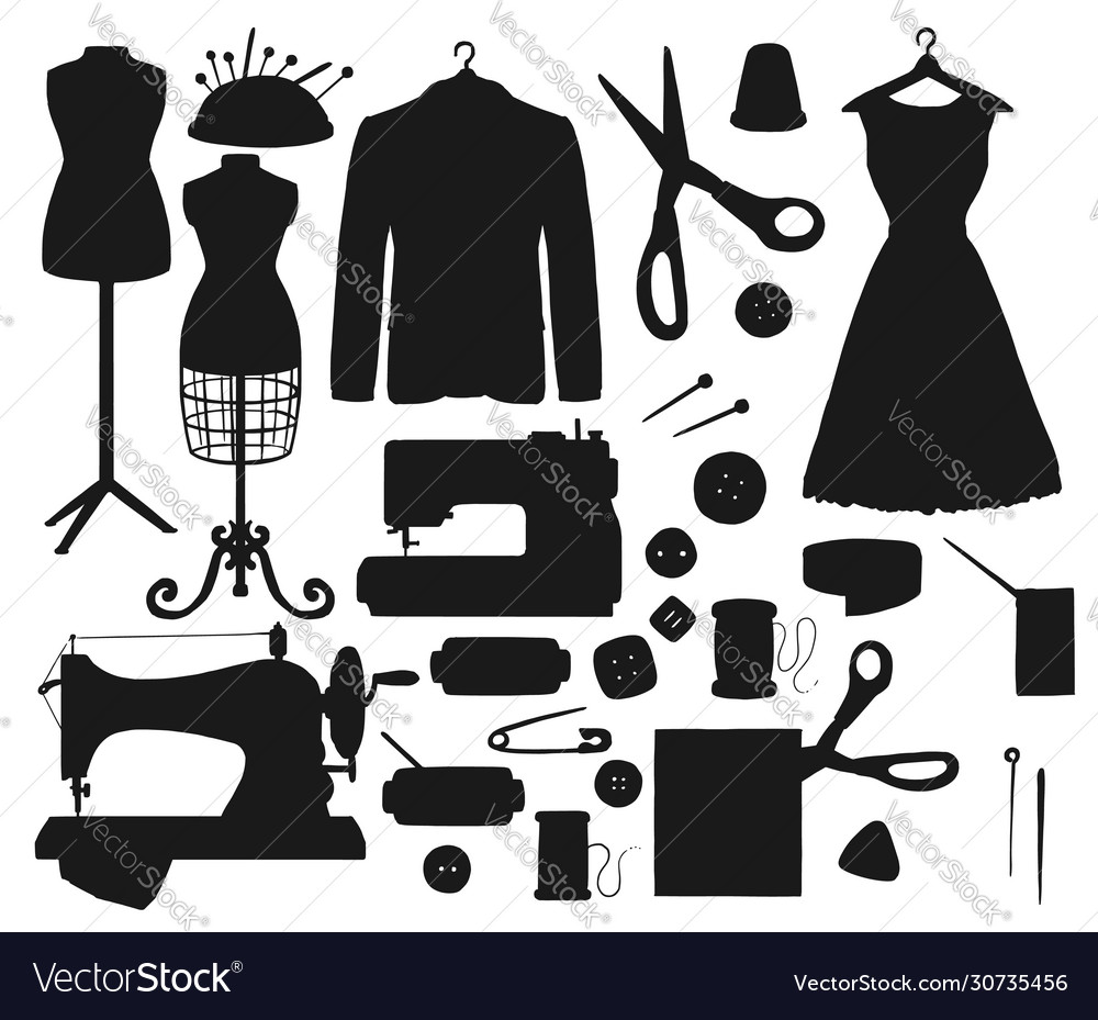 Sewing Tool And Tailor Shop Equipment Silhouettes Vector Image