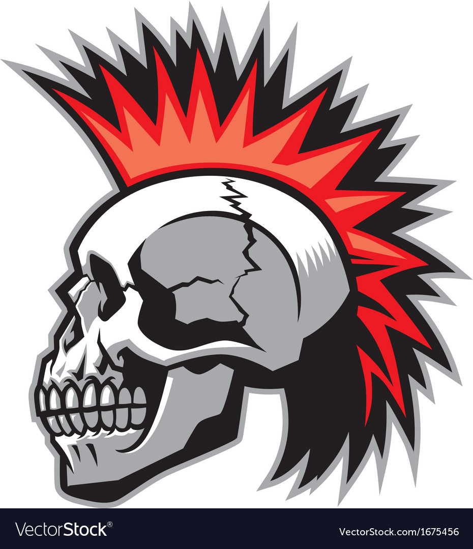 Skull with mohawk hairstyle