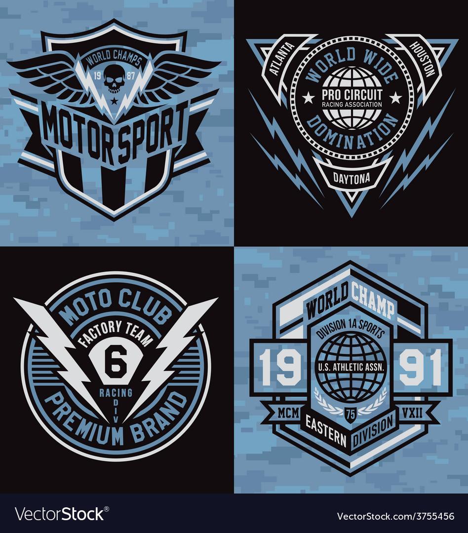 Sports emblem graphics vector image