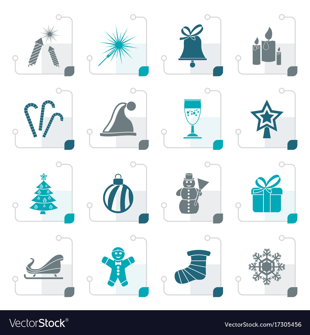 Stylized christmas and new year icons