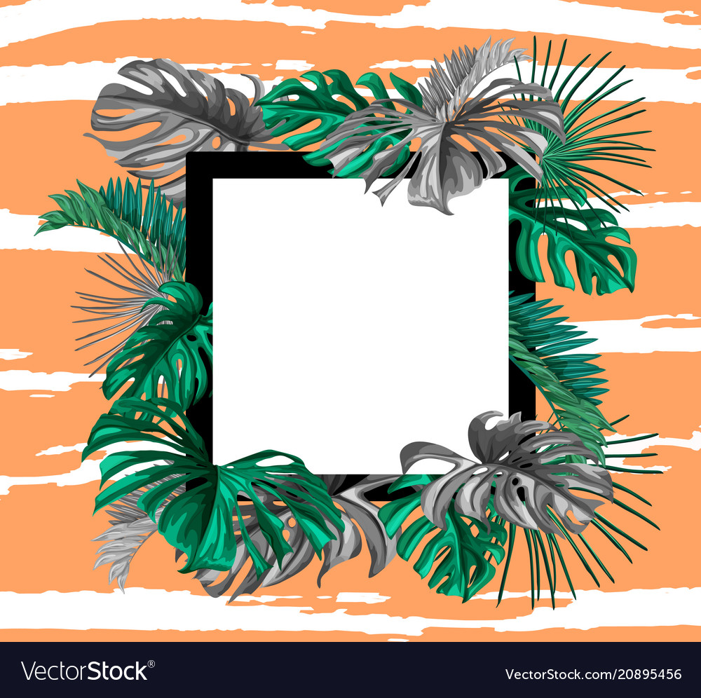 Tropical exotic leaves summer banner