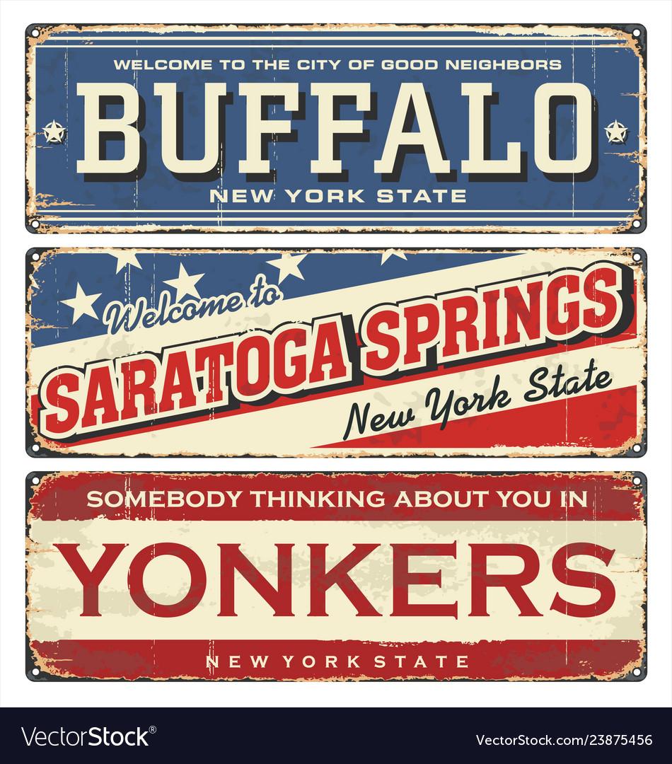 Vintage city label vintage tin sign
