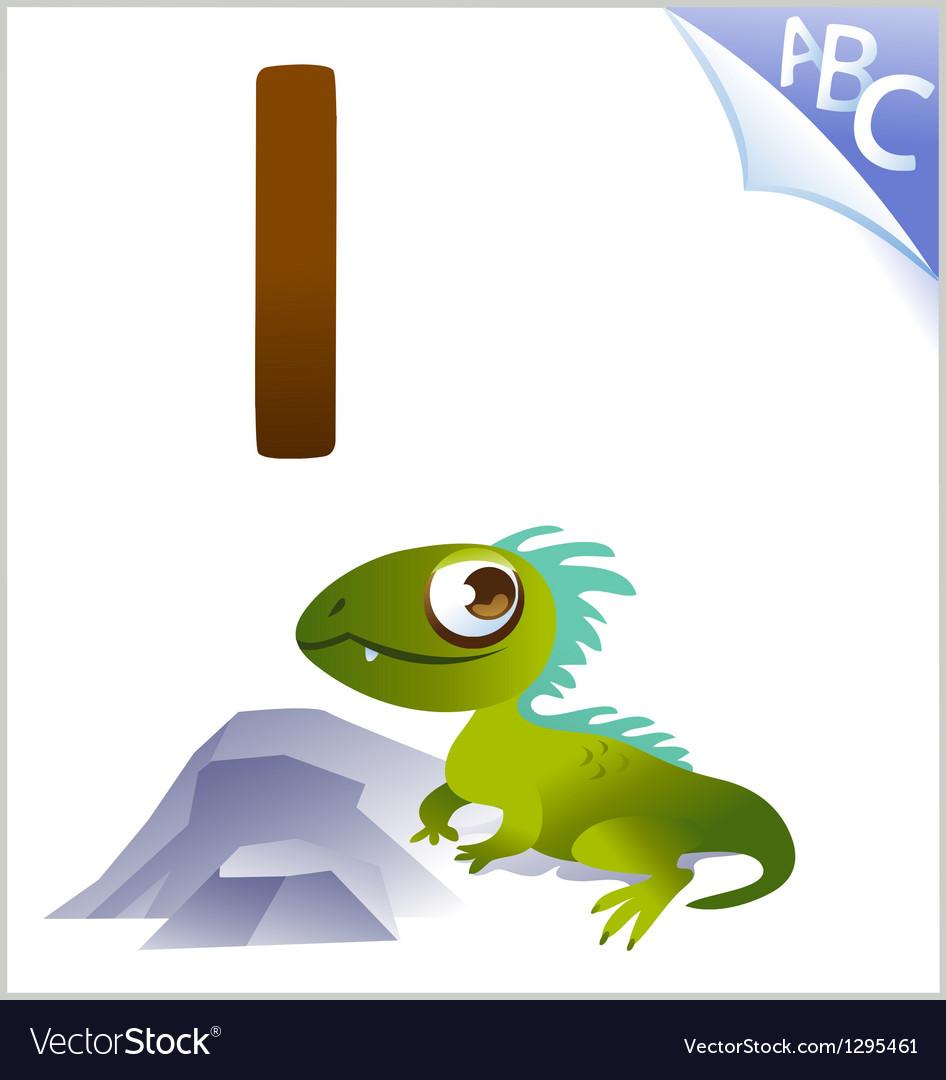 Animal alphabet for the kids I for the Iguana