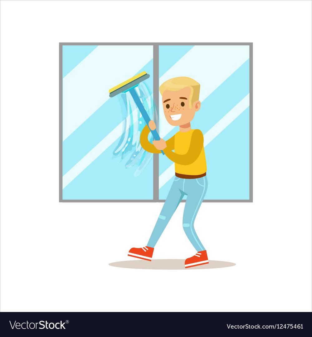 Boy Washing Windows With Squeegee Smiling Cartoon