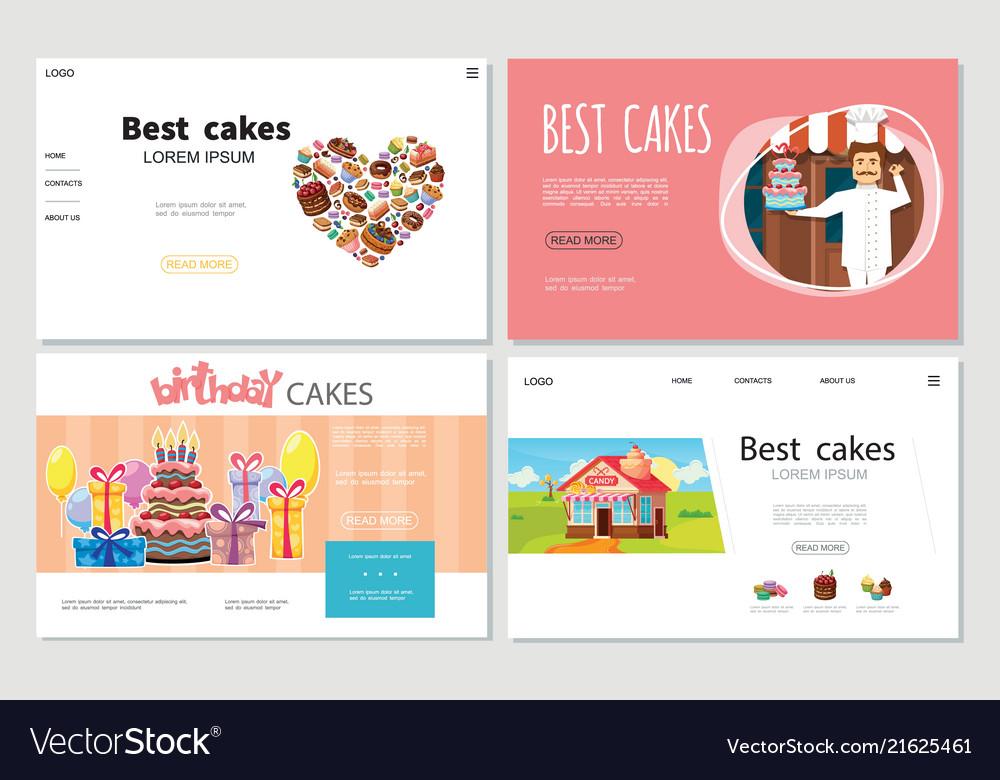 Cartoon sweets websites set