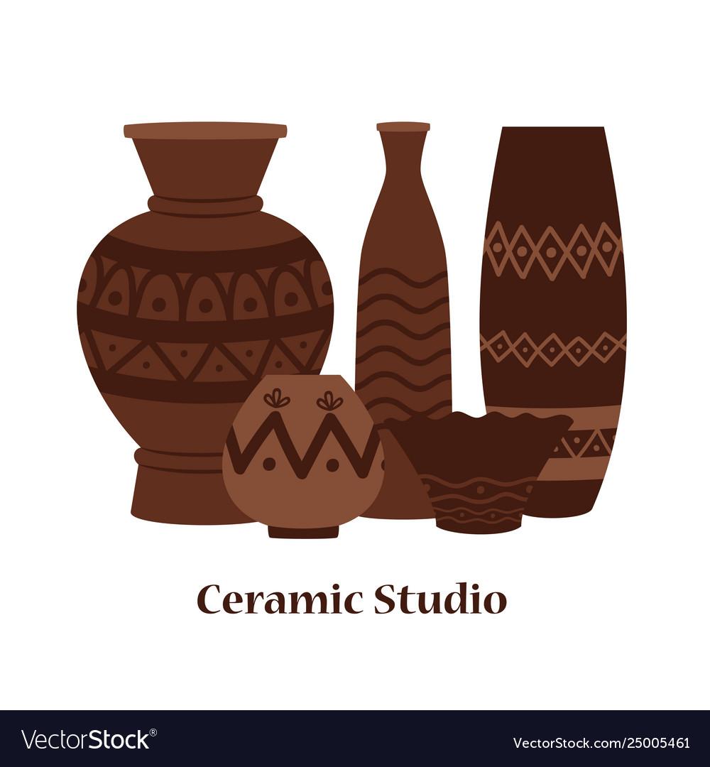 Ceramic studio emblem design with clay