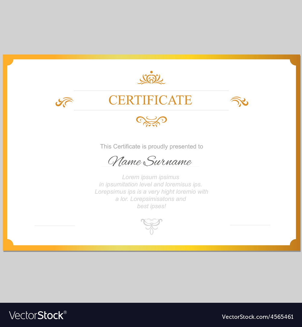 Certificate template with gold frame vector image