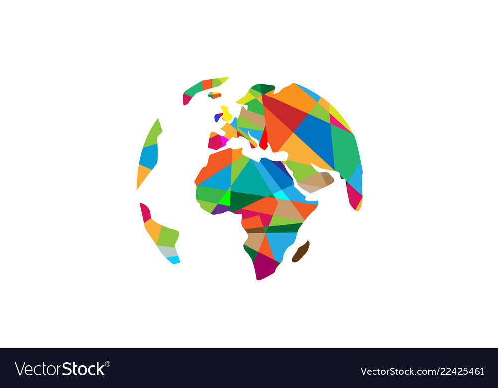 Creative colorful continents world polygons logo