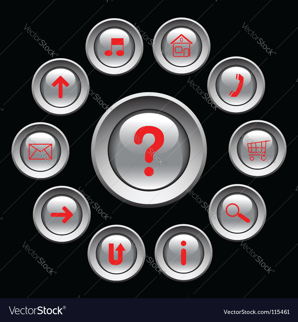 Glossy buttons with red symbols