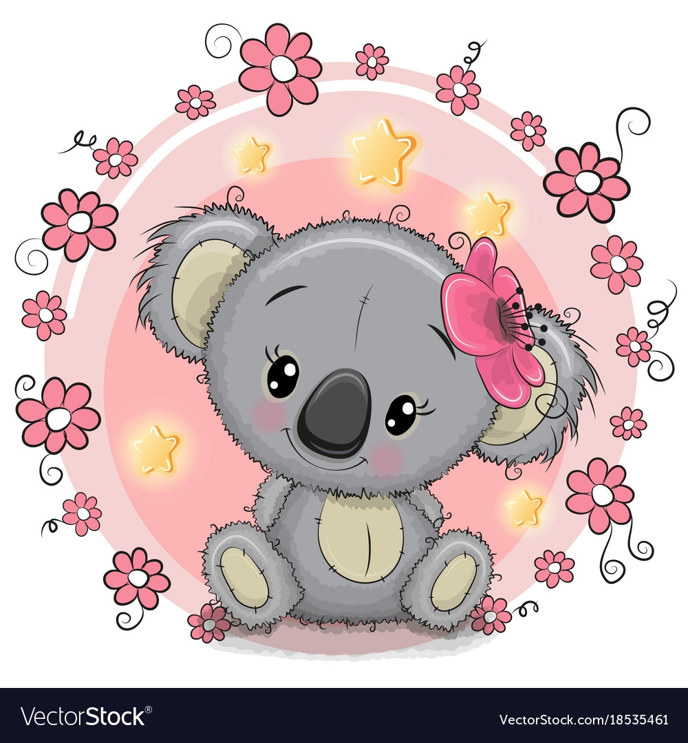 Greeting Card Koala With Flowers Royalty Free Vector Image