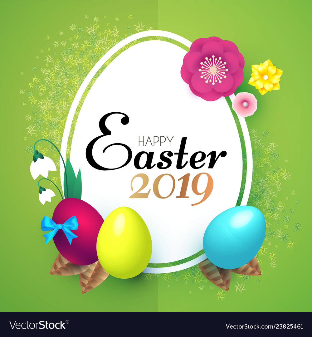 Happy easter design template with realistic