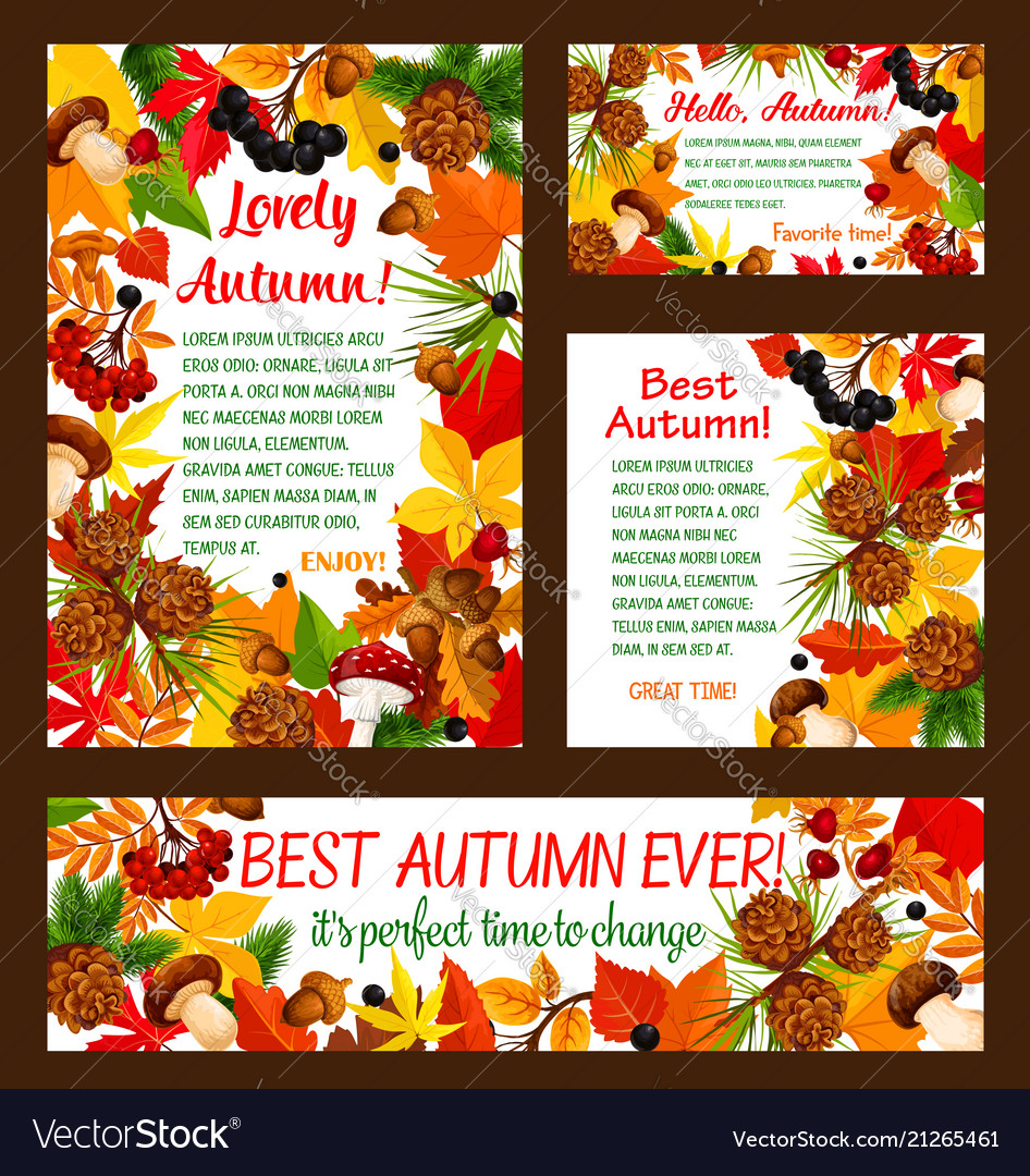 Hello autumn banner set with fall nature frame