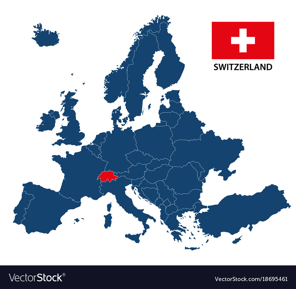 map of europe switzerland Map europe with highlighted switzerland Royalty Free Vector