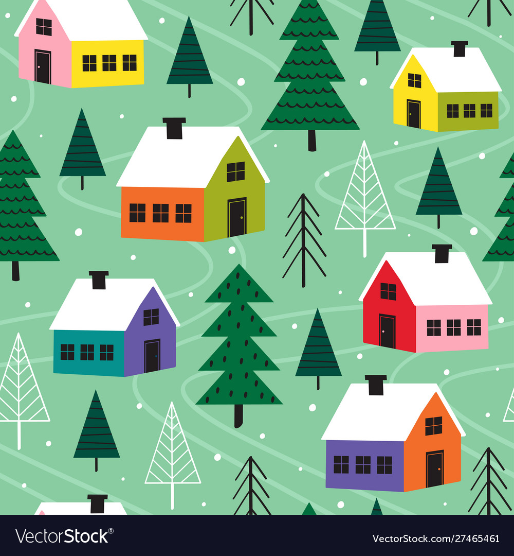 Seamless pattern with colorful houses in winter