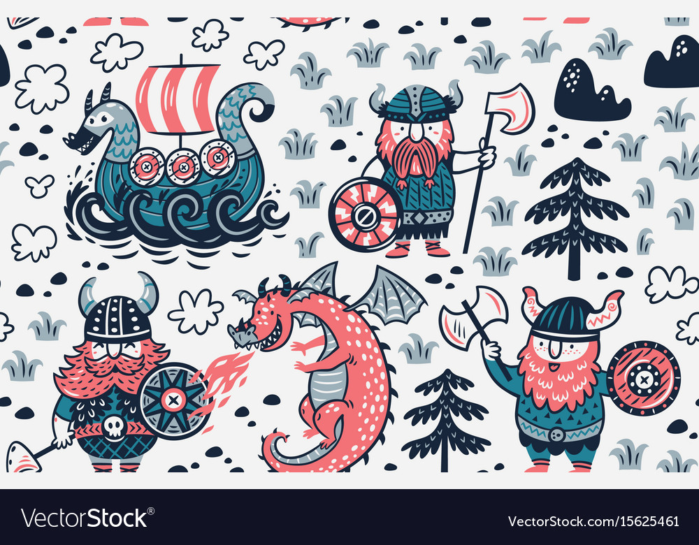 Seamless pattern with vikings for design fabric