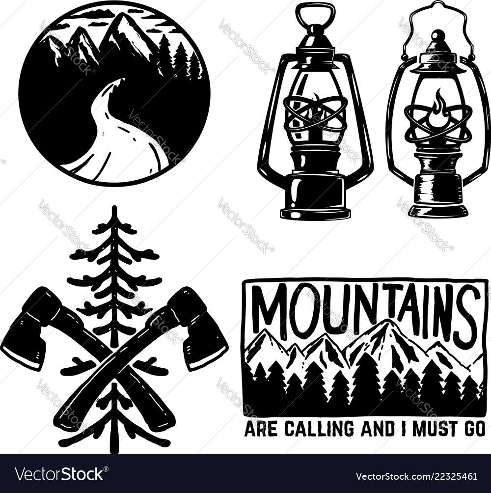 Set of hiking icons kerosene lamp axe emblems