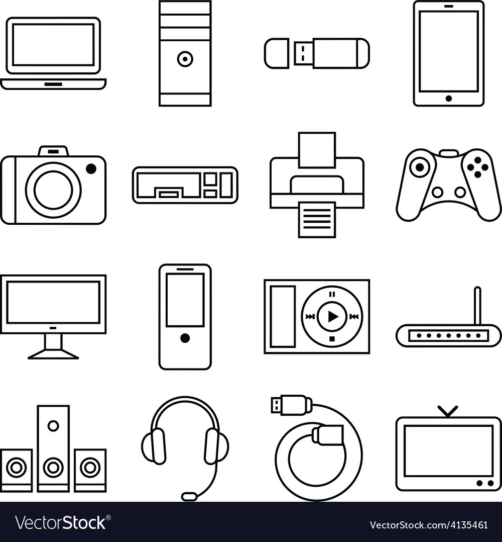 Set of linear icons computer and other equipment