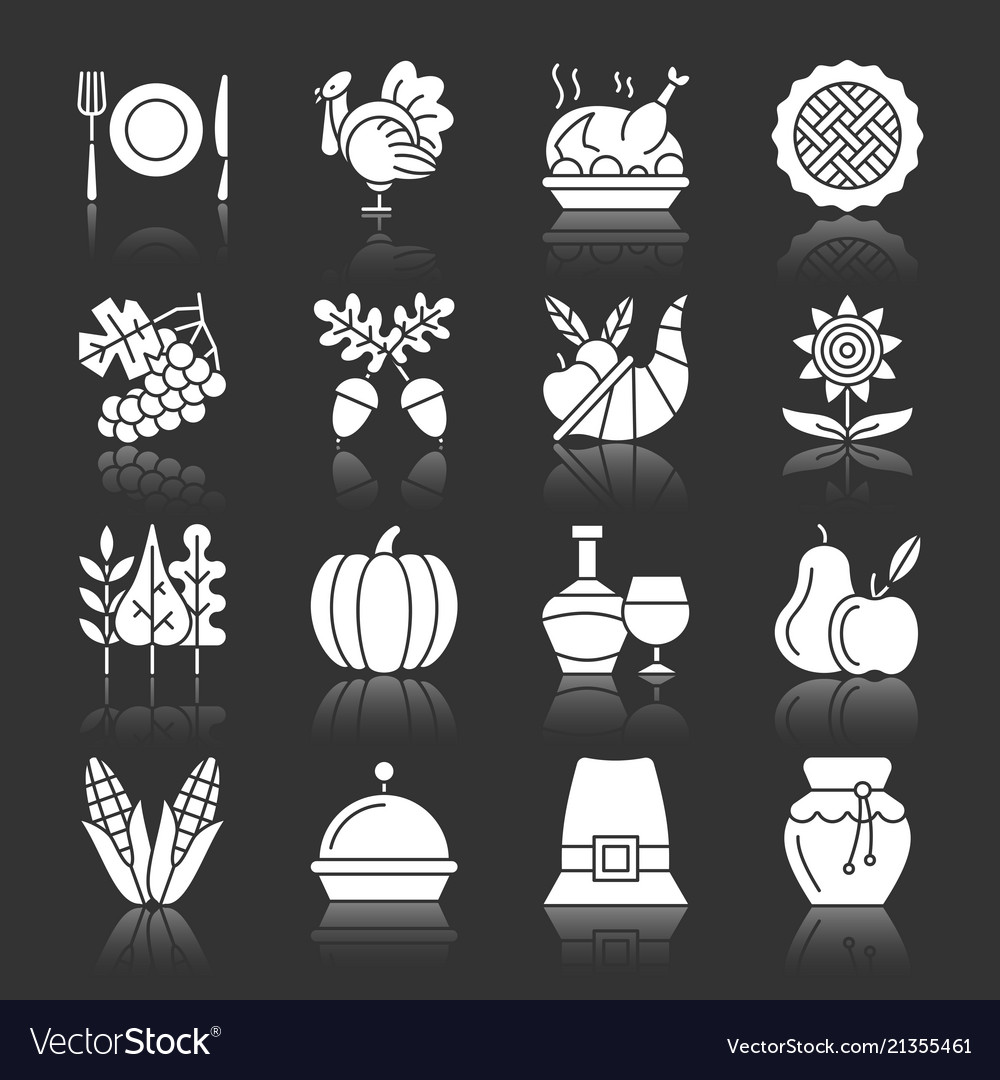 Thanksgiving day icons white silhouette reflection